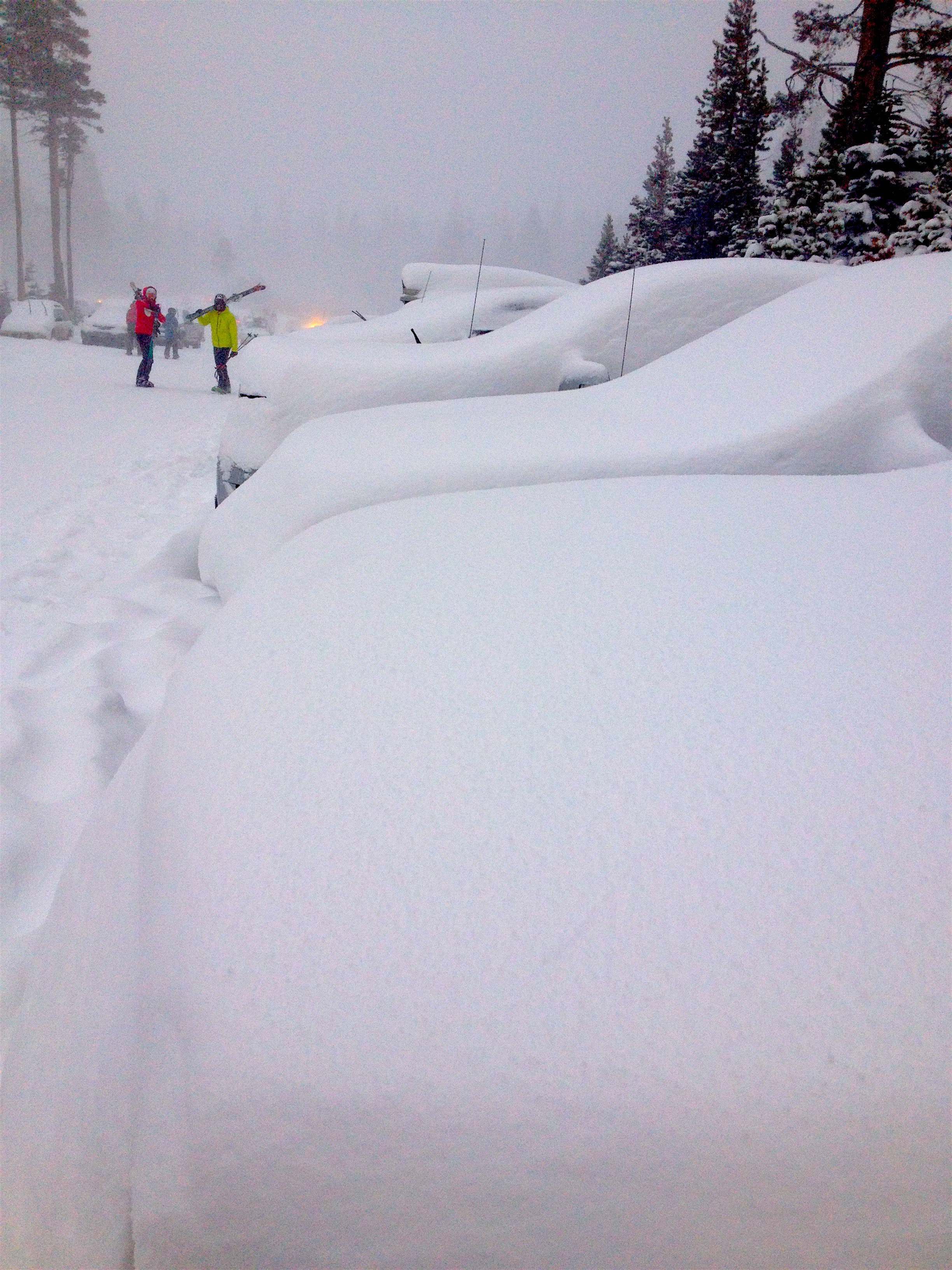 Parking lot cars looking a bit buried at 4pm today. photo: snowbrains