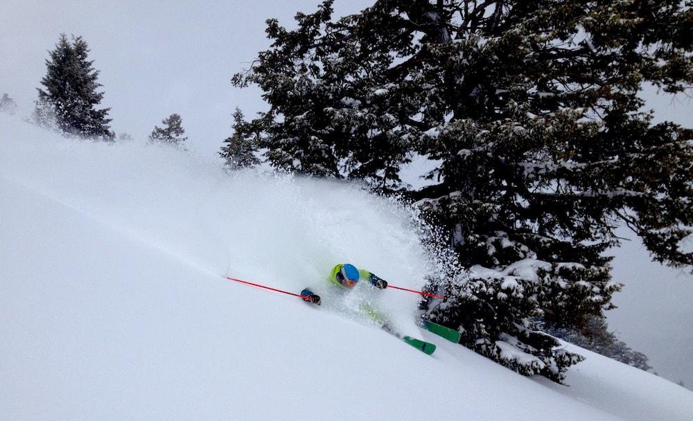 Jamie slashing today. photo: snowbrains