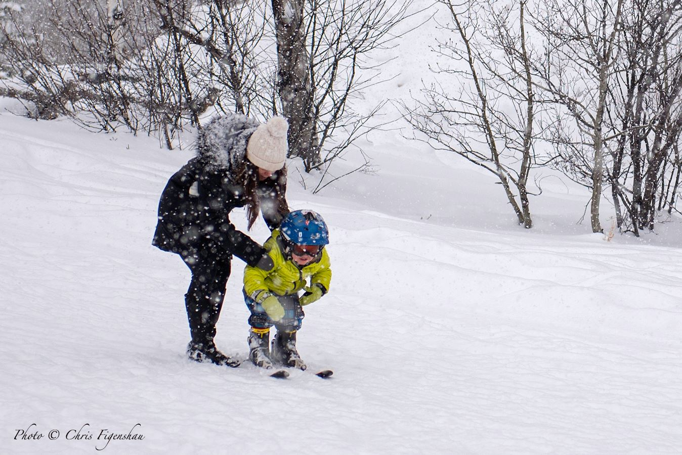 Smiles and Heavy Snow at JH Today. Image: Chris Figenshau