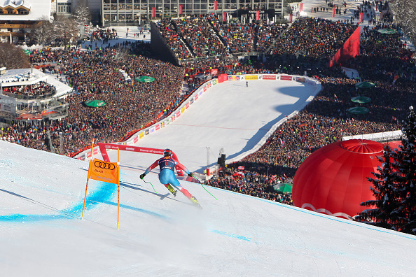 Steven Nyman ran bib No. 1 in Saturday's Hahnenkamm Downhill in front of 70,000 fans. (Getty Images/Agence Zoom-Alexis Boichard)