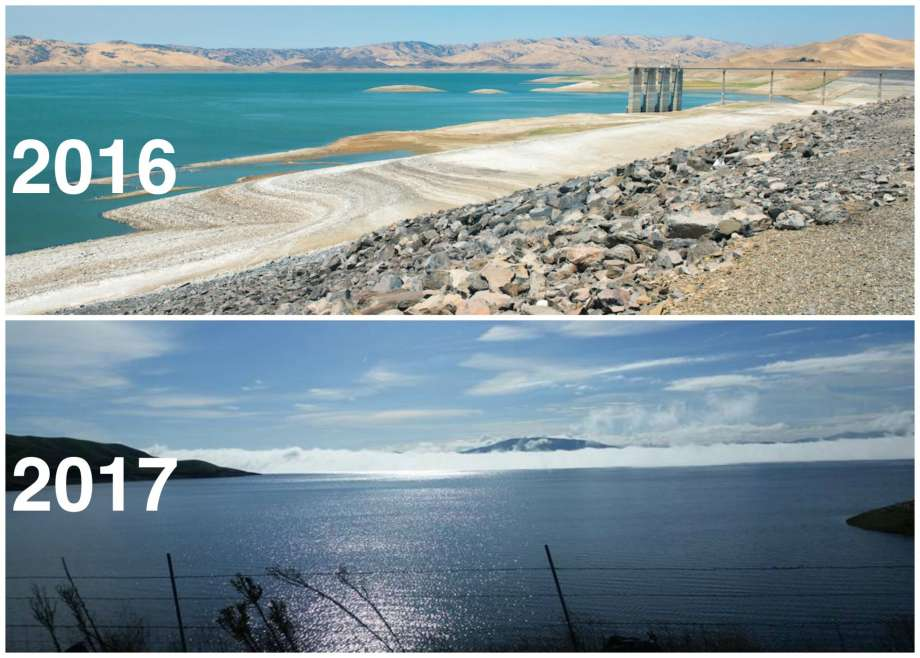 Top: San Luis Reservoir at 10 percent of capacity on July 28, 2016.Bottom: San Luis Reservoir at 79 percent of capacity on Jan. 24, 2017. Credit: SF Gate - Photo: Top, Frances Low/DWR. Bottom, Walt Warneke