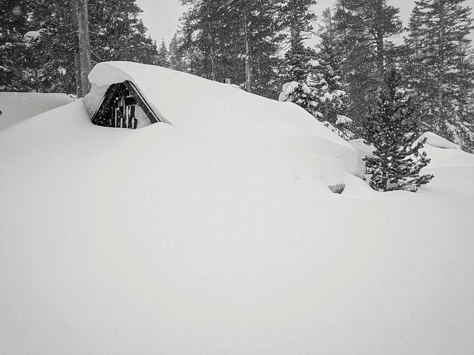 Roof meets ground at Mammoth Mountain Yesterday. Image: Mammoth Facebook Page