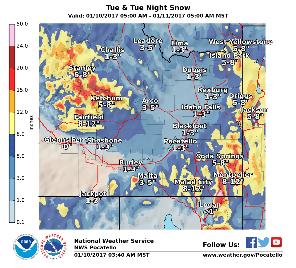 Snowfall totals from Tuesday-Tuesday night. Image: NOAA Today