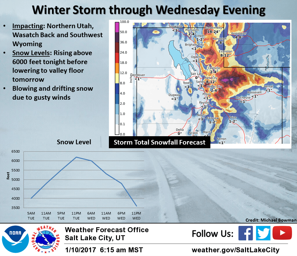 Utah Storm Totals Through Wednesday Night. Image: NOAA Satl Lake City, Today