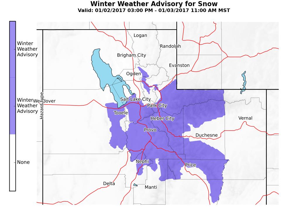 Winter Weather Advisory in place this morning. Image: NOAA Salt Lake City, UT