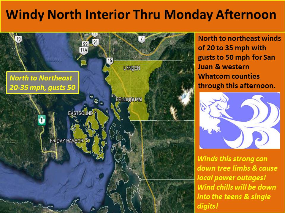 Storng winds with light snowfall expected today. Image: NOAA Seattle, WA Today