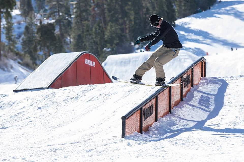 A classic red Bear Mountain terrain park rail feature. Source: Bear Mountain Facebook Page