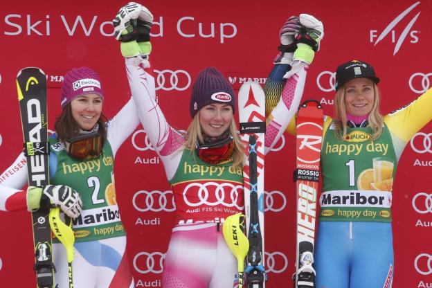 Podium pose at Maribor: Shiffrin, Wendy Holdener, (left) and Frida Hansdotter pc; Zoom Agence