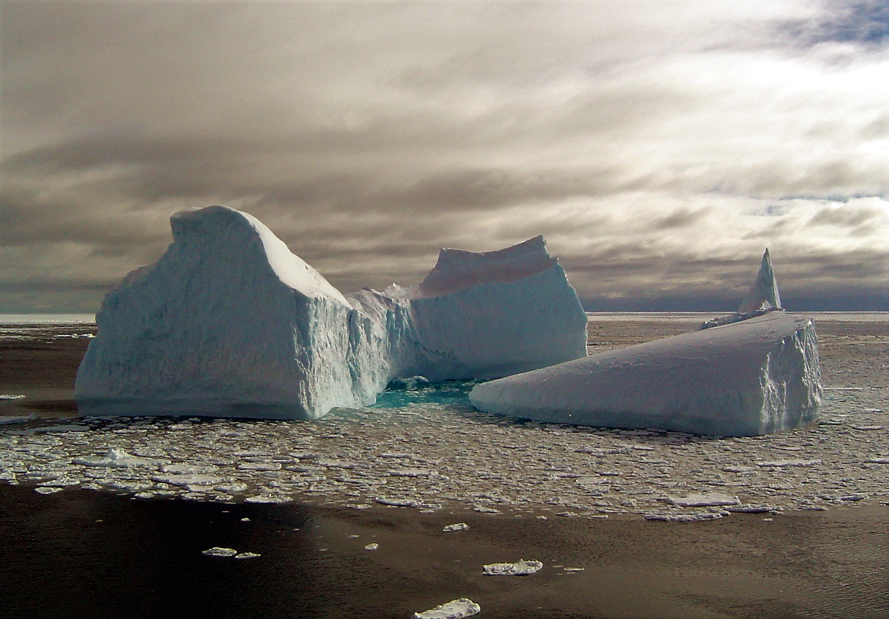Icebergs can develop into a variety of shapes as they break apart. Credit: Ted Scambos, NSIDC