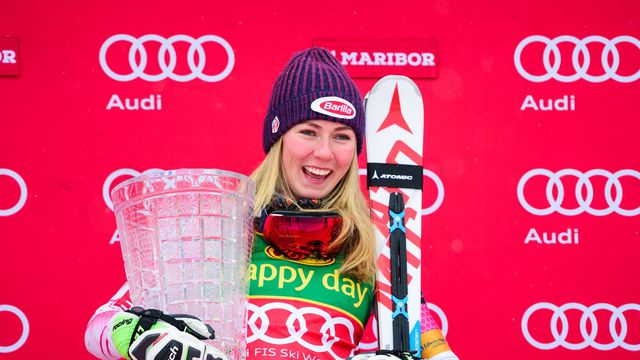 Mikaela Shiffrin back on top at Maribor, Slovenia. pc; @ Jure MAKOVEC / AFP
