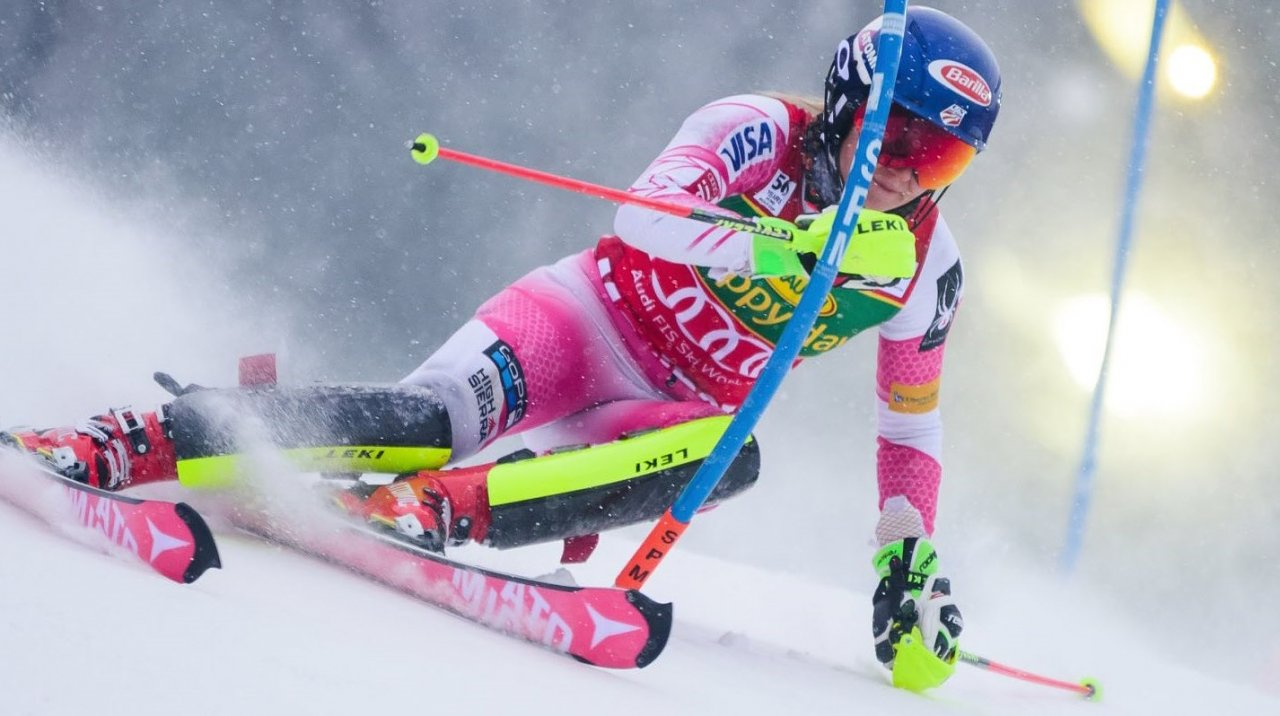 Mikaela Shiffrin scored another podium result in Tuesday night's slalom in Flachau, Austria. (Getty Images/AFP-Johann Groder)