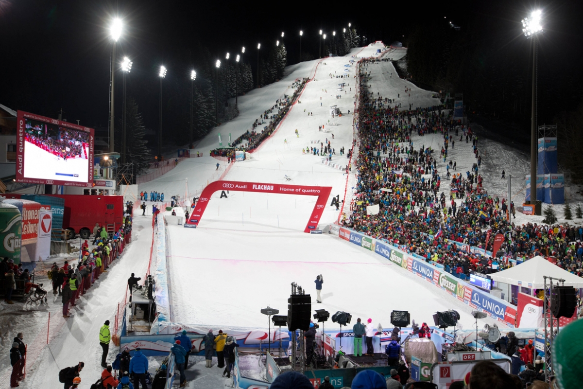 FIS World Cup Slalaom venue at Flachau, Austria. pc; Getty Images