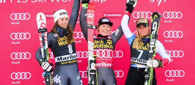 Tessa Worley, Soffia Goccia, (left) and Lara Gut enjoy a photo op on the podium at Maribor after Saturdays World Cup GS pc; @ Jure MAKOVEC / AFP