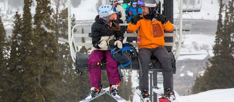At Luvbyrd's chairlift speed-dating event, participants are paired off to ride the lift together, then ski as long as they want or return to the base to get another match.  Photo: OutThere Colorado