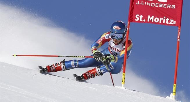 United States's Mikaela Shiffrin competes during a women's giant slalom, at the alpine ski World Championships, in St. Moritz, Switzerland, Thursday, Feb. 16, 2017. (AP Photo/Alessandro Trovati)  (Associated Press)