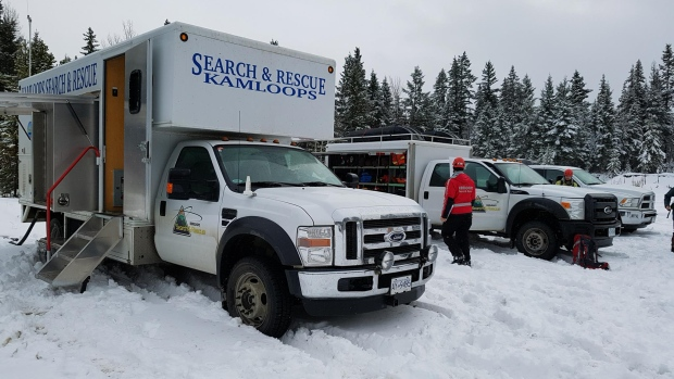 Kamloops Search and Rescue said 18 people were employed in the search Monday at Sun Peaks, a ski resort near Kamloops, B.C. Two snowboarders and five skiers went missing but have been found safe. (KSAR/Facebook)