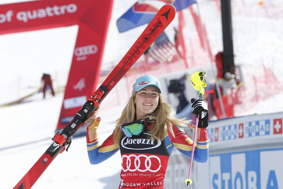 U.S. Team phenom Mikaela Shiffrin is all smiles in the finish area after clinchi gthe FIS World Cup Slalom Crystal Globe on Saturday in Squaw Valley. pc; Agence Zoom