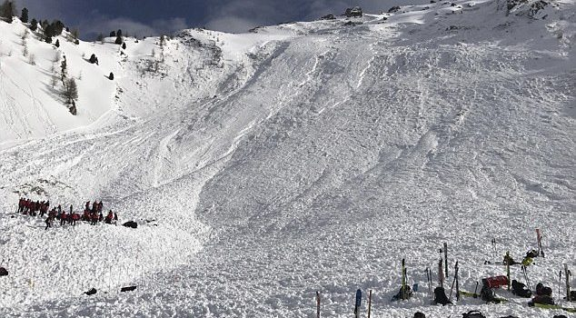 Pictured is the slope where the avalanche took place. Rescue workers are seen trying to locate a fourth man who was missing Read more: http://www.dailymail.co.uk/news/article-4316742/Avalanche-kills-three-Austrian-Alps.html#ixzz4bTnfzCfc Follow us: @MailOnline on Twitter | DailyMail on Facebook