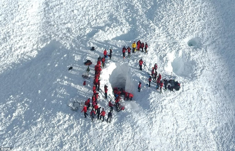 Rescuers work to find the victims of the deadly avalanche near St. Anton on Friday March 17th. pc; Daily Mail