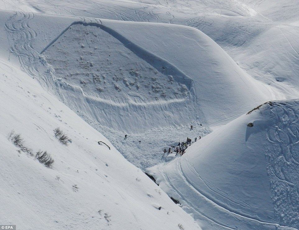 The tracks of the skiers could be seen weaving down the slope, before the group propagated a massive fracture that broke off the side of the mountain. pc; Daily Mail