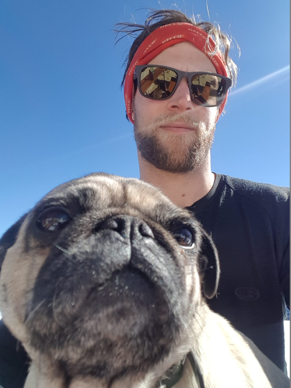 Head Shaper Dog Charlie and Me enjoying the Sun