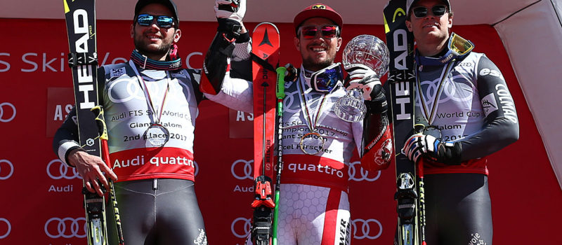 Mathieu Faivre of France takes 2nd place in the overall standings, Marcel Hirscher of Austria wins the globe in the overall standings, Alexis Pinturault of France takes 3rd place in the overall standings during the Audi FIS Alpine Ski World Cup Finals Men's Giant Slalom on March 18, 2017 in Aspen, Colorado