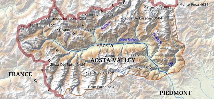 Map of Aosta Valley in Northern Italy