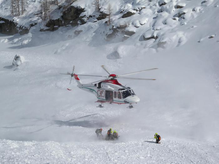 Rescue efforts included a helicopter in northern Italy on Friday March 17th for two back country skiers killed in an avalanche in the Western Rhaetian Alps in Alta Valmalenco in Lombardy in northern Italy near the Swiss border. pc Centro Mateo Italiano