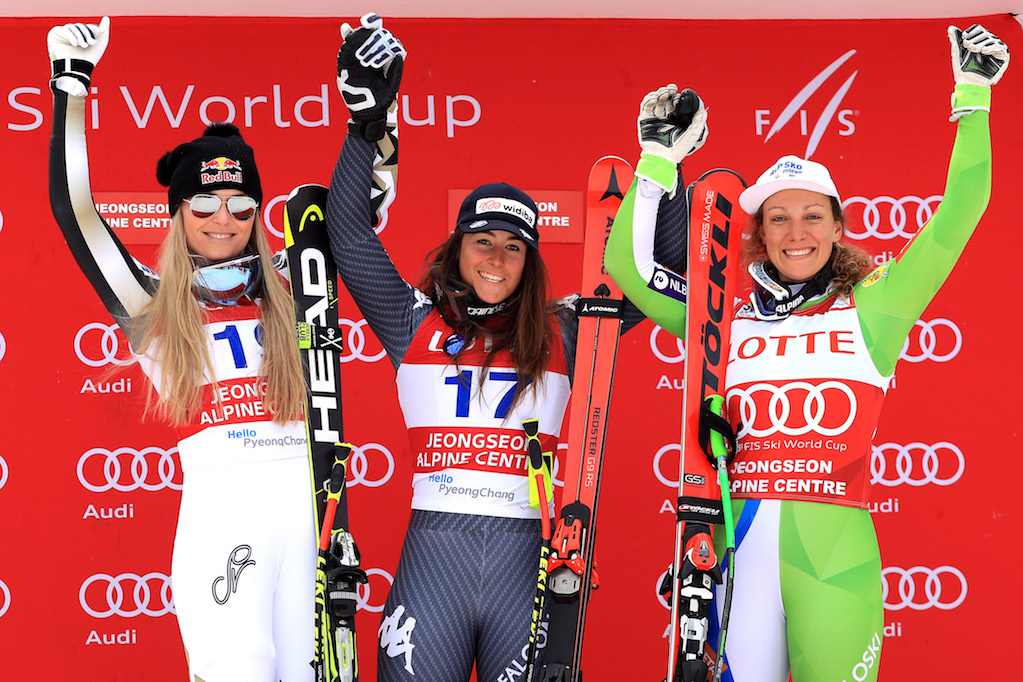 JEONGSEON-GUN, SOUTH KOREA - MARCH 05: (L-R) Lindsey Vonn of the United States in second place, Sofia Goggia of Italy in first place and Ilka Stuhec of Slovenia in third place celebrate on the podium during the Audi FIS Ski World Cup 2017 Ladies' Super-G on March 5, 2017 in Jeongseon-gun, South Korea. (Photo by Sean M. Haffey/Getty Images)