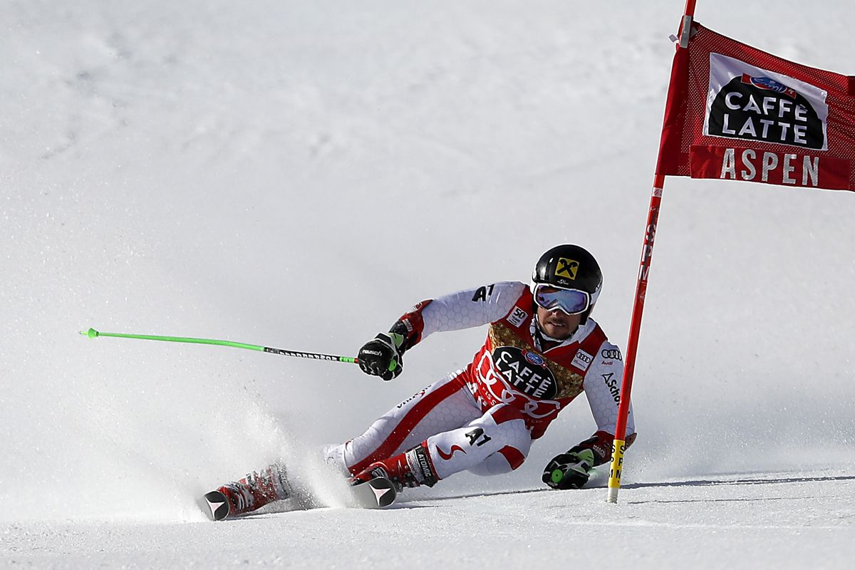 Austria's Marcel Hirscher skis during the first run of a men's World Cup giant slalom ski race Saturday, March 18, 2017, in Aspen, Colo. (AP Photo/Nathan Bilow)