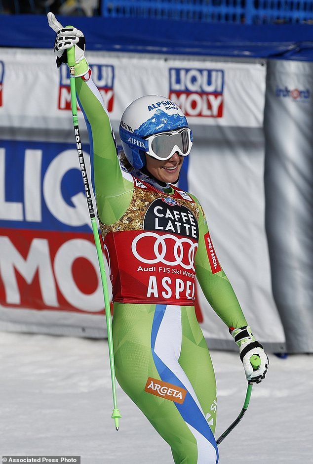 Slovenia's Ilka Stuhec celebrates after a run at the women's World Cup downhill ski race Wednesday, March 15, 2017, in Aspen, Colo. (AP Photo/Brennan Linsley)