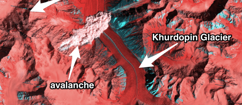 Landsat satellite NASA Kanjut Sar Pakistan Labeled