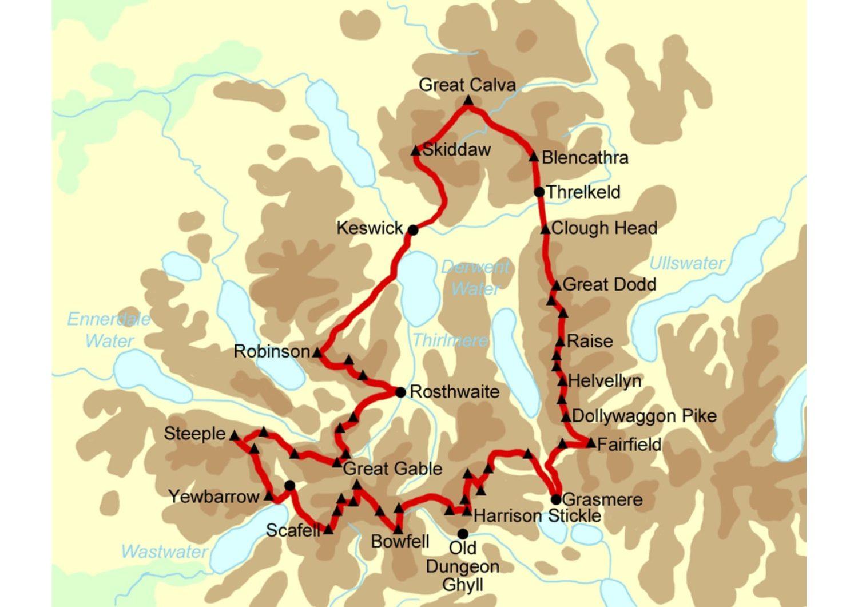 Bob Graham Round, route, map