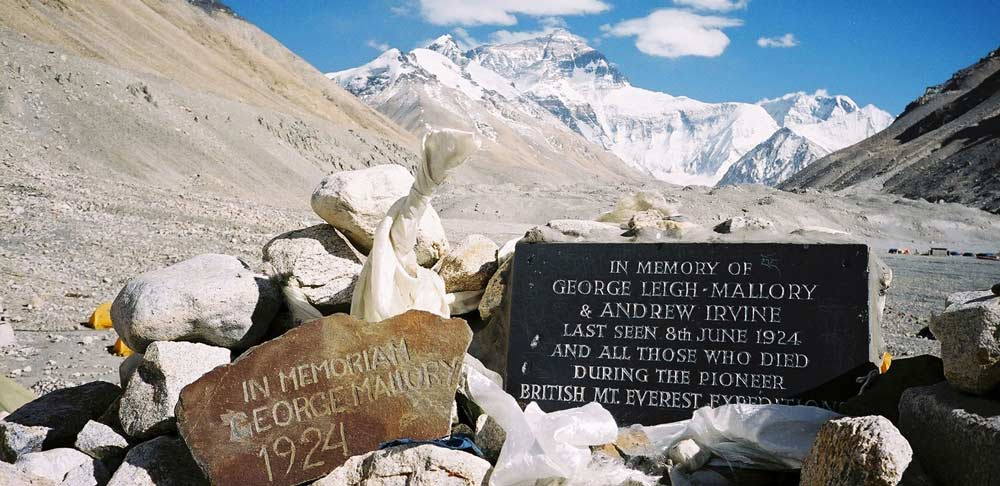 Everest, highest, mountain, himalayas, plaque, mallory, irvine, died