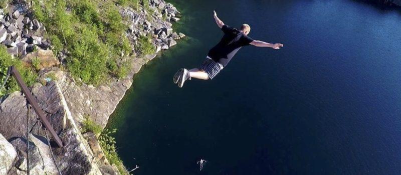 Swan Dive, insane, mental, cliff, water,