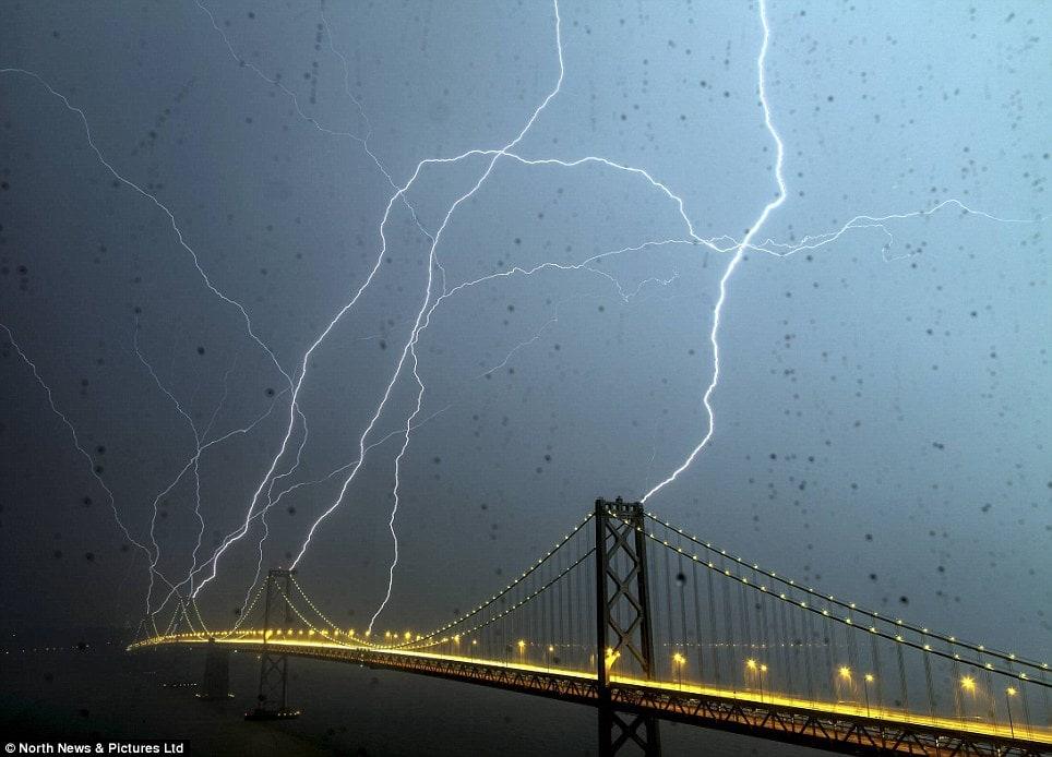 thunder, lightning, storm, electrical, california, golden gate bridge