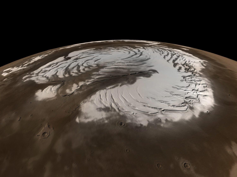Mars, snow, planet, ice caps, space, winter, north pole