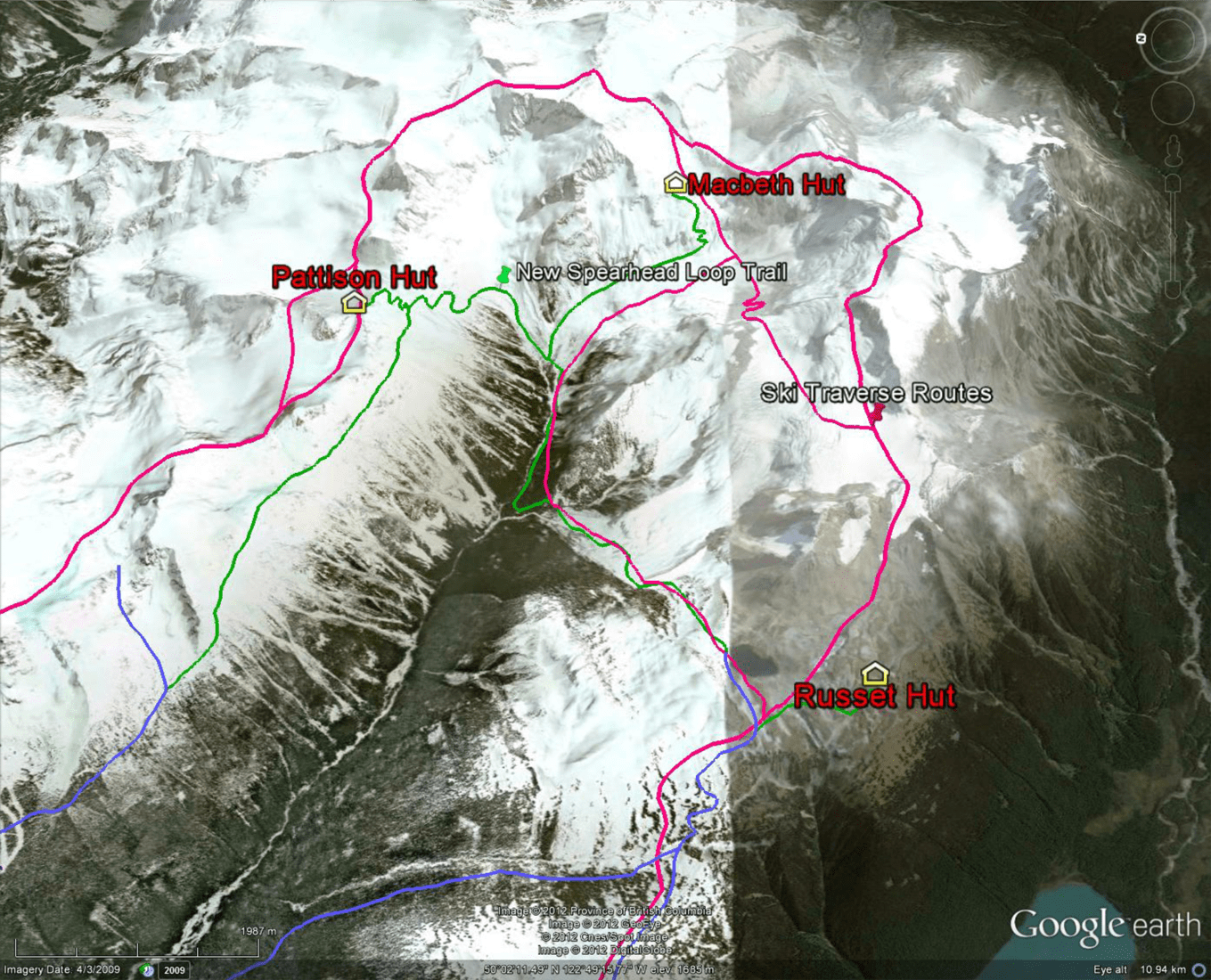 spearhead, traverse, route, map, whistler, back country, hut-to-hut, pattison, macbeth