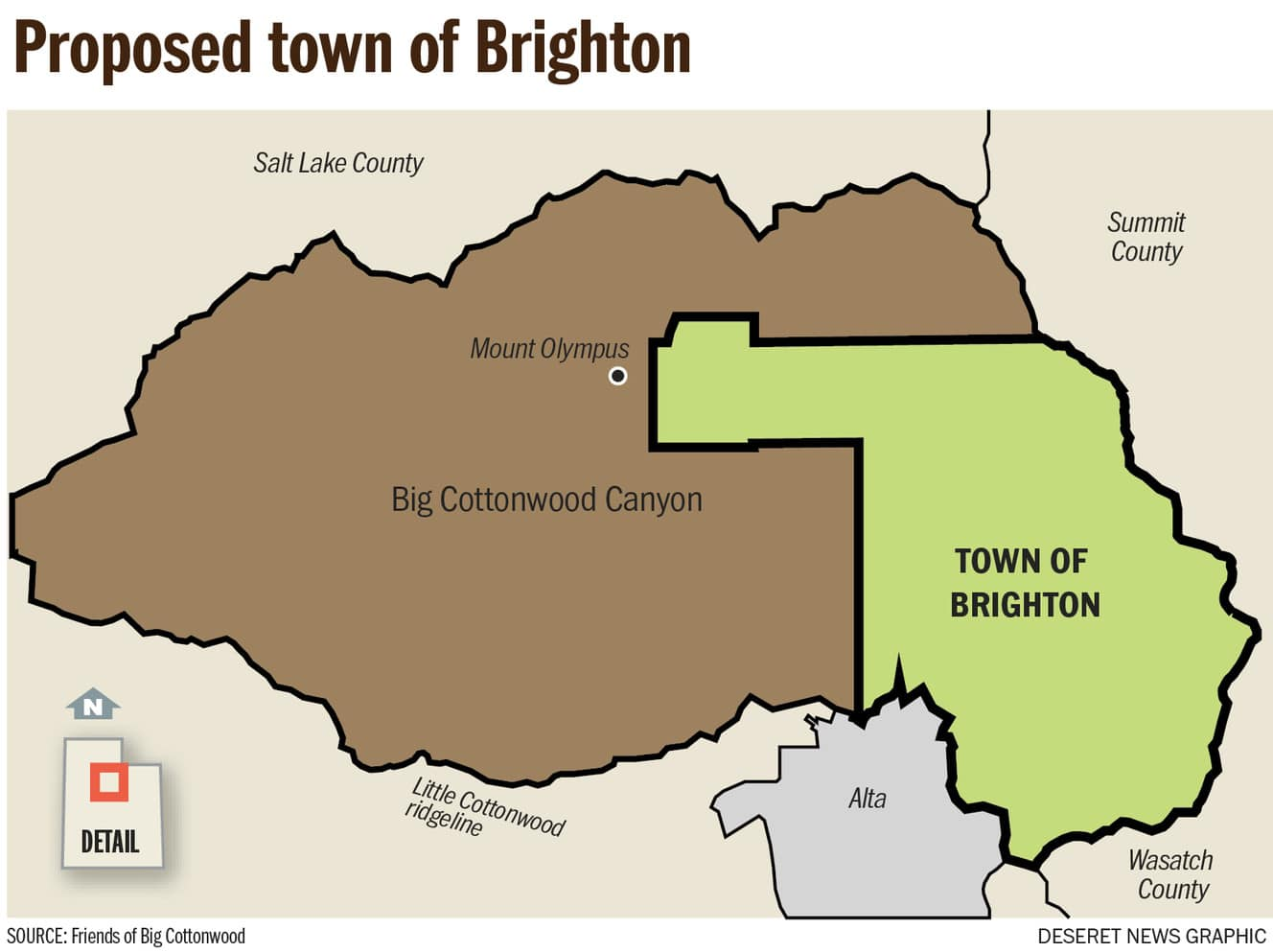 Brighton Utah Map.To Receive Funding Should A Chunk Of Big Cottonwood Canyon Become