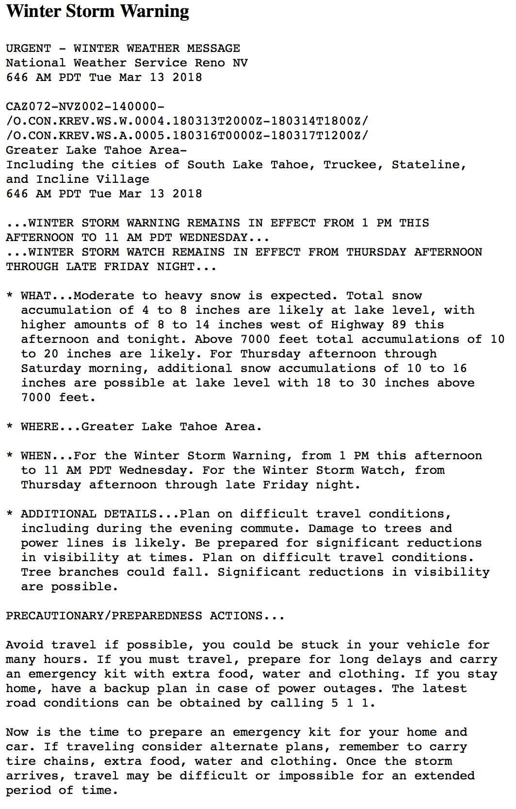 california, winter storm warning, avalanche warning