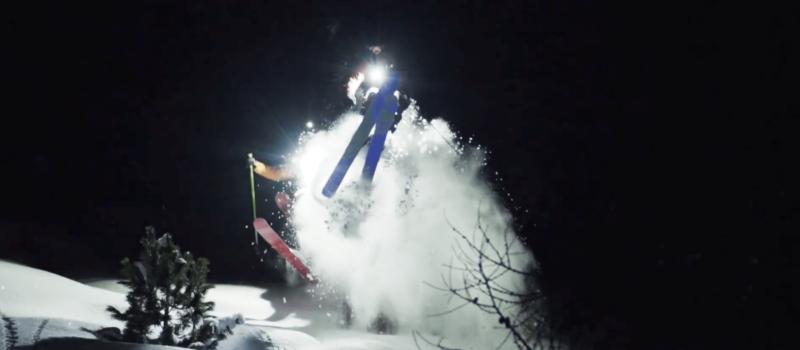 night skiing, video, powder
