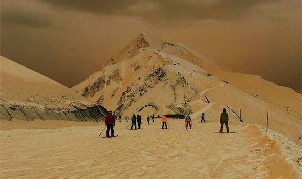 orange snow, Russia, Sochi, Sahara