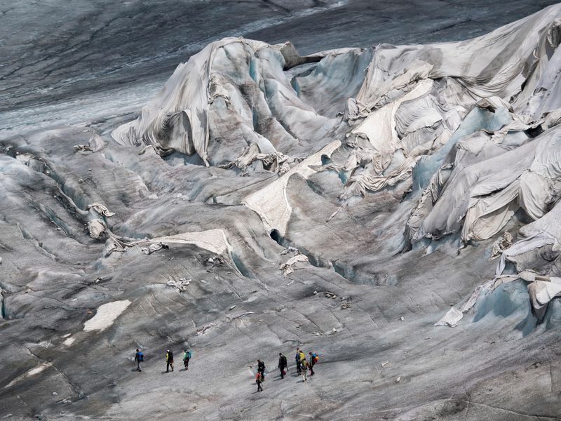 glacier, rhone glacier, switzerland, covered blanket