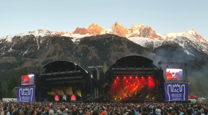 The Musilac Mont-Blanc Stage drawing a full crowd under the backdrop of the Aguille du Midi. Photo: Zeb Blais.