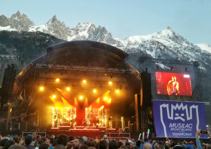 Last light on the Aguille du Midi above the Musilac stage. Photo: Zeb Blais.