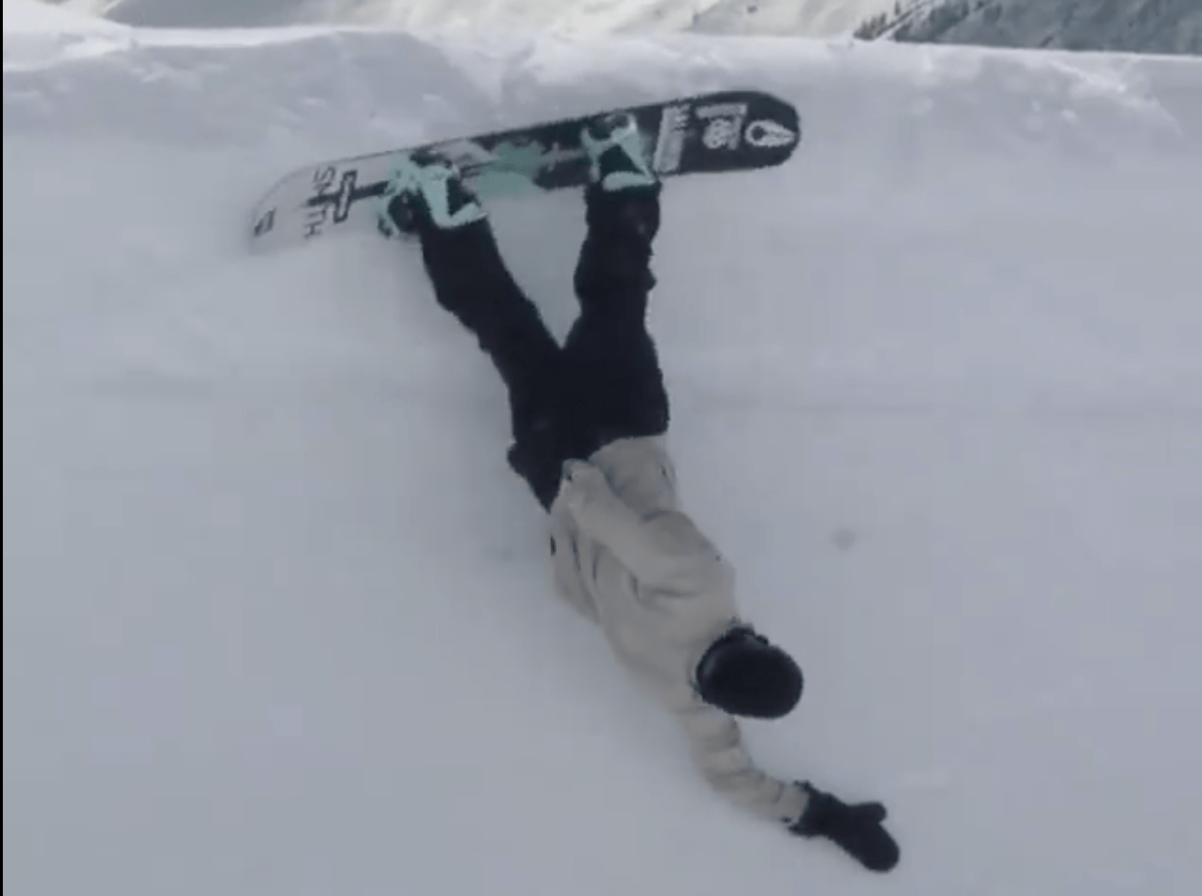 snowboarding fall, snowboard, hold my beer