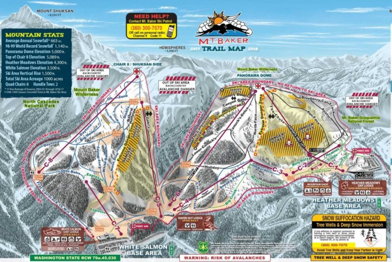 Mt. Baker Trail Map - SnowBrains