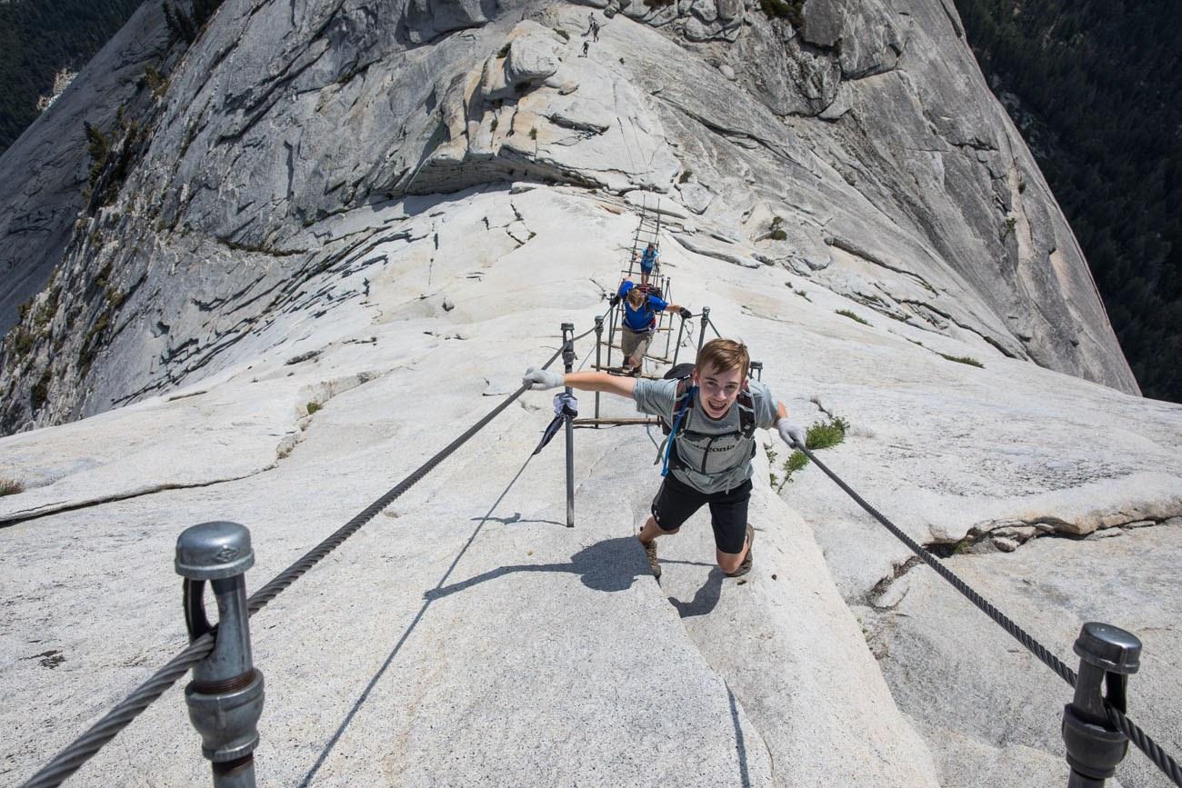 half dome, hiker, fall, Yosemite