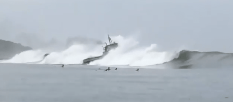 barge, surf, surfers, video