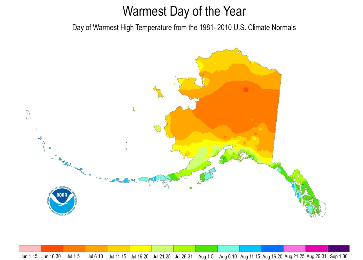 noaa, weather, warmest day of year